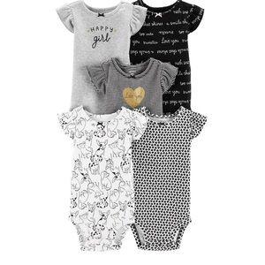 5 Pack Flutter Sleeve Printed Bodysuits
